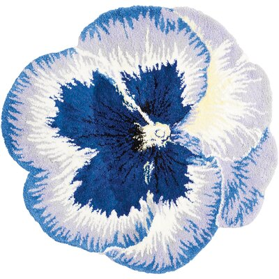 Wendover Hand-Tufted Blue Area Rug Rug Size: Round 4 x 4