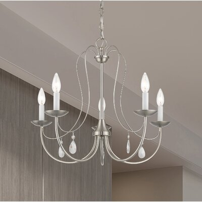 Winona 5-Light Candle-Style Chandelier Finish: Brushed Nickel