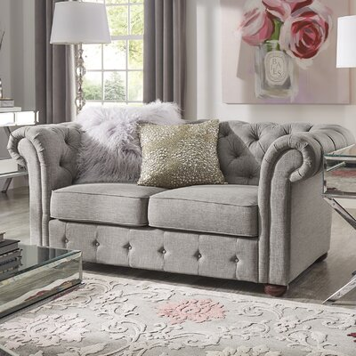 Vegard Tufted Chesterfield Loveseat Upholstery: Gray
