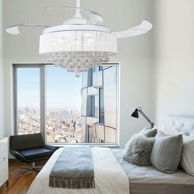 42.5 Broxburne Cool Light 4 Blade LED Ceiling Fan with Remote Finish: White