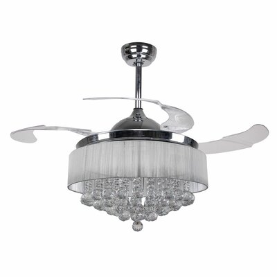 42.5 Broxburne Cool Light 4 Blade LED Ceiling Fan with Remote Finish: Chrome