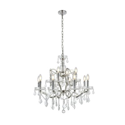 Newell 12-Light Crystal Chandelier Finish: Polished Nickel, Shade Color: Grey