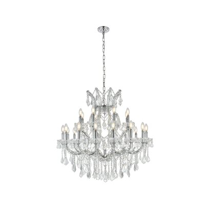Regina Traditional 24-Light Chain Crystal Chandelier Finish / Crystal Finish / Crystal Trim: Chrome / Crystal (Clear) / Royal Cut