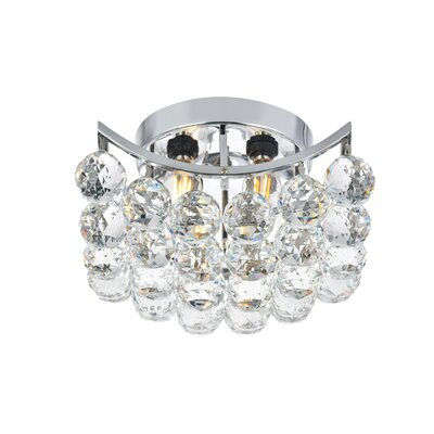 Hatton 4-Light Semi Flush Mount Finish: Chrome, Crystal Grade: Elegant Cut