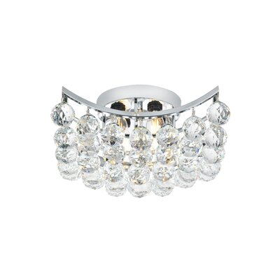 Gorbold  4-Light Flush Mount Finish: Chrome, Crystal Grade: Royal Cut