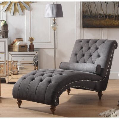 Yarmouth Chaise Tufted Lounge Chair Upholstery: Charcoal