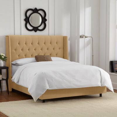 Florine Upholstered Panel Bed Color: Velvet - Honey, Size: King