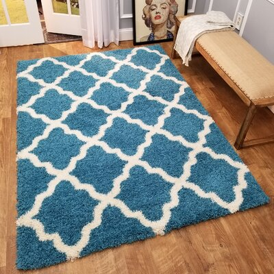 Komar Trellis Contemporary Blue/Ivory Shag Area Rug Rug Size: Rectangle 33 x 48