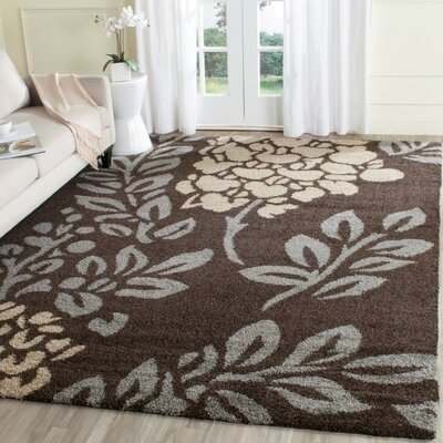 Duffey Dark Brown/Beige Area Rug Rug Size: Rectangle 53 x 76