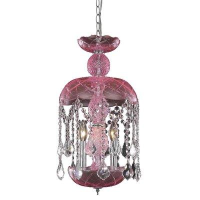 Carmen 3-Light Crystal Pendant Finish: Pink