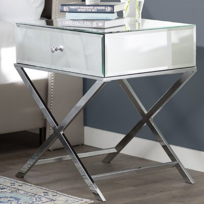 Desid�rio End Table With Storage Color: Chrome