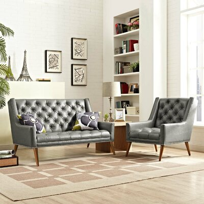 Mcwilliams 2 Piece Living Room Set Upholstery: Light Gray