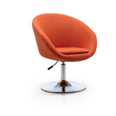 Helmuth Adjustable Leisure Swivel Barrel Chair Upholstery: Orange