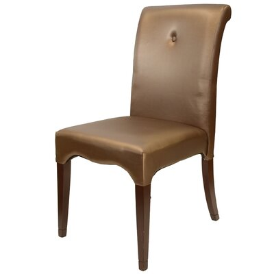 Carvell Scroll Side Chair in Leatherette - Champagne Pearlized