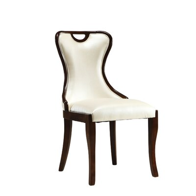 Crown Genuine Leather Upholstered Dining Chair Upholstery: Cream
