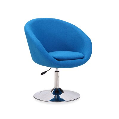 Helmuth Adjustable Leisure Swivel Barrel Chair Upholstery: Blue
