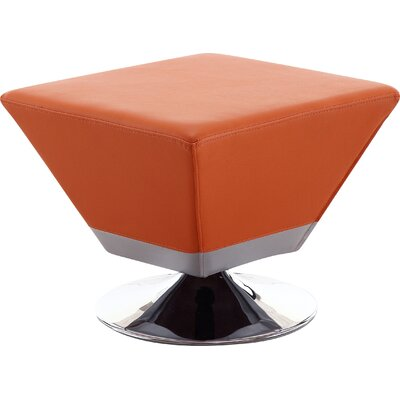 Cube Swivel Ottoman Upholstery: Orange