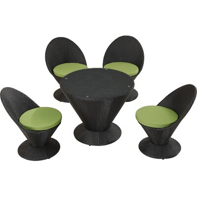 Martini with Cushions 5 Piece Dining Set Upholstery: Green