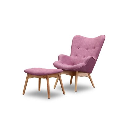 Ali  Wingback Chair and Ottoman Upholstery: Lavender