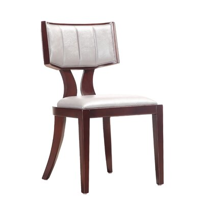 Regency Genuine Leather Upholstered Dining Chair Upholstery: Silver