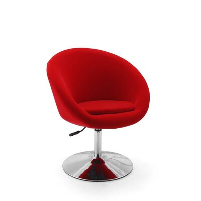 Helmuth Adjustable Leisure Swivel Barrel Chair Upholstery: Red
