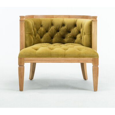 Williamson Barrel Chair Upholstery: Citron Gold, Finish: Natural