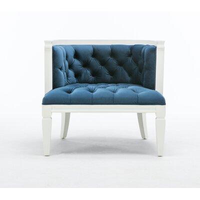 Williamson Barrel Chair Upholstery: Blue, Finish: White