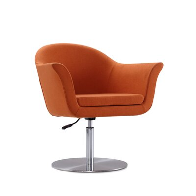 Luttrell Adjustable Swivel Armchair Upholstery : Orange