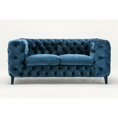 Galghard  Chesterfield Loveseat Upholstery: Blue
