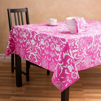 Buckley Rectangular Baroque Cotton Tablecloth Color: Fuchsia/White