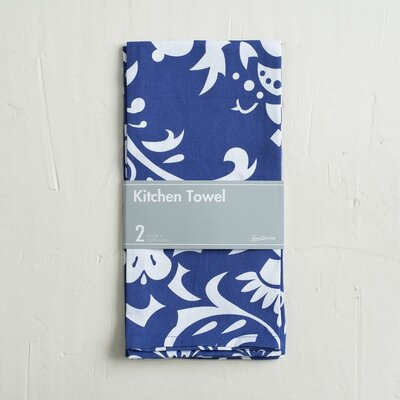 Buckley 2 Piece Kitchen Towel Color: Navy Blue/White