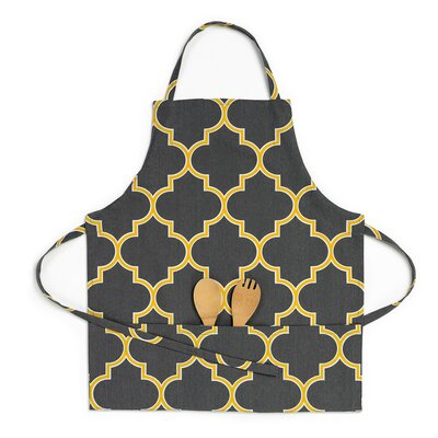 Trellis Bib Apron Color: Charcoal/Mustard Yellow