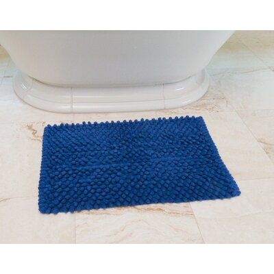 Basket Weave Cotton Bath Mat Color: Royal Blue
