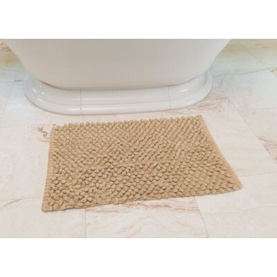 Basket Weave Cotton Bath Mat Color: Beige