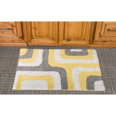 Cubical Maze Cotton Bath Mat Color: Yellow / Gray