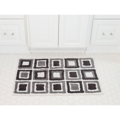 Cubes Cotton Bath Mat Color: Charcoal / Gray