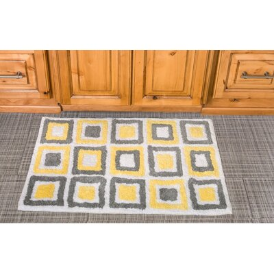 Cubes Cotton Bath Mat Color: Yellow / Gray