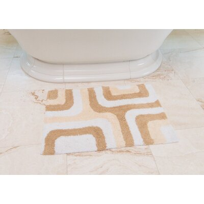 Cubical Maze Cotton Bath Mat Color: Beige / Cream