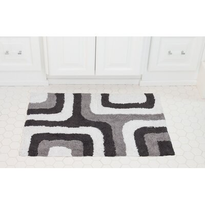 Cubical Maze Cotton Bath Mat Color: Charcoal / Gray