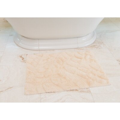 Foliage Cotton Bath Mat Color: Cream