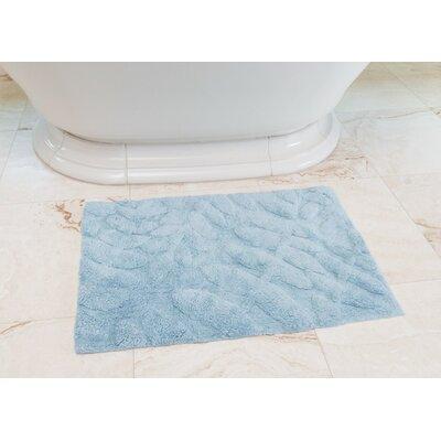 Foliage Cotton Bath Mat Color: Baby Blue