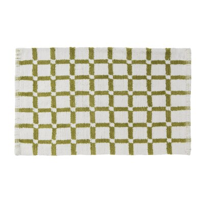 Grid Reversible Cotton Bath Mat Color: Lime