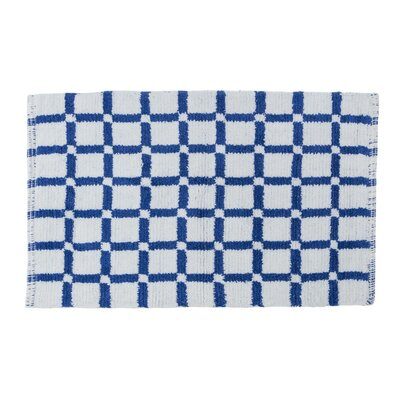 Grid Reversible Cotton Bath Mat Color: Royal Blue