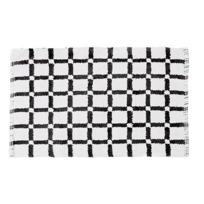 Grid Reversible Cotton Bath Mat Color: Black