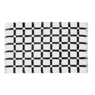 Grid Reversible Cotton Bath Mat Color: Black