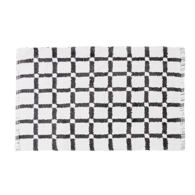 Grid Reversible Cotton Bath Mat Color: Charcoal