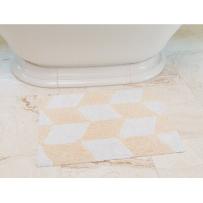 Herringbone Cotton Bath Mat Color: Cream / White