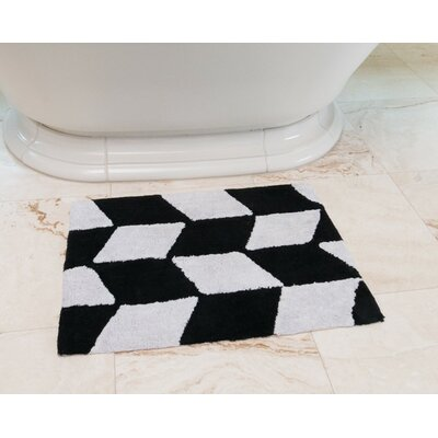Herringbone Cotton Bath Mat Color: Black / White