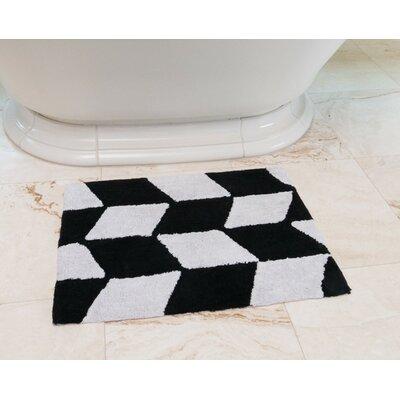 Herringbone Cotton Bath Mat Color: Black / White
