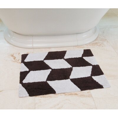 Herringbone Cotton Bath Mat Color: Coffee / White